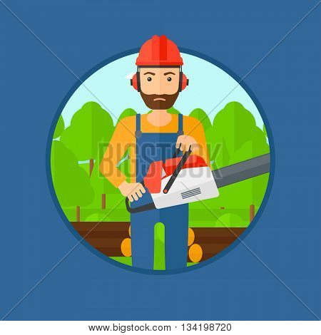 A hipster woodcutter with the beard holding a chainsaw. Woodcutter in workwear, hard hat and headphones at the forest with logs. Vector flat design illustration in the circle isolated on background.