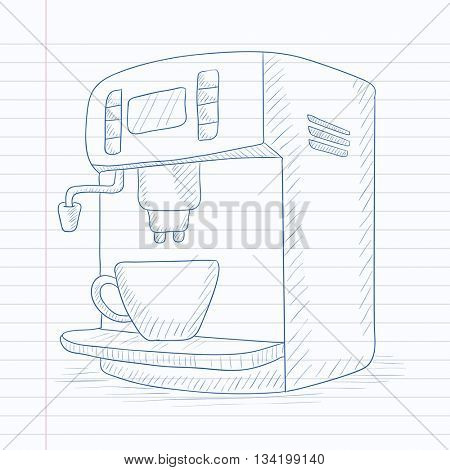 Coffee maker with cup. Coffee maker hand drawn on notebook paper in line background. Coffee maker vector sketch illustration.