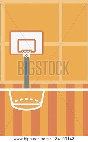 Background of basketball court. Basketball arena vector flat design illustration. School basketball court. Sport concept. Vertical layout.