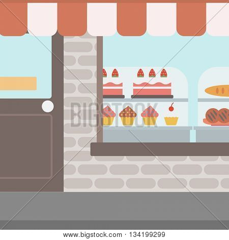 Background of bakery. Display window of bakery shop with variety of pastries. Bakery showcase full of bread and cakes vector flat design illustration. Square layout.