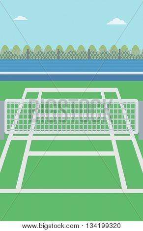 Background of tennis court. Outdoor tennis court vector flat design illustration. A tennis court in an arena. Sport concept. Vertical layout.