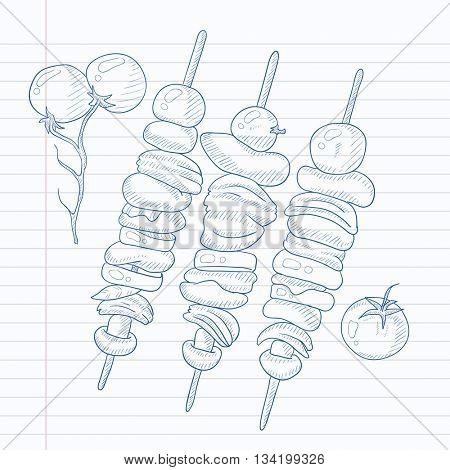 Shish kebabs on skewers. Shish kebabs hand drawn on notebook paper in line background. Shish kebabs vector sketch illustration.