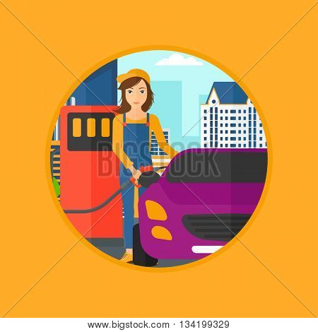 A female worker filling up fuel into the car. Worker in workwear at the gas station. Gas station worker refueling a car. Vector flat design illustration in the circle isolated on background.