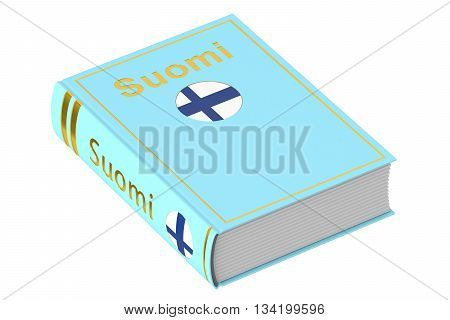 Finnish Suomi language textbook 3D rendering isolated on white background
