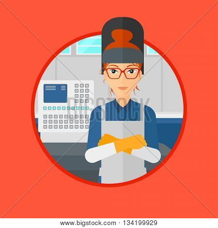 Welder at factory workshop. Industrial worker with protective welder mask. Welder with arms crossed on background of control panel.Vector flat design illustration in the circle isolated on background.