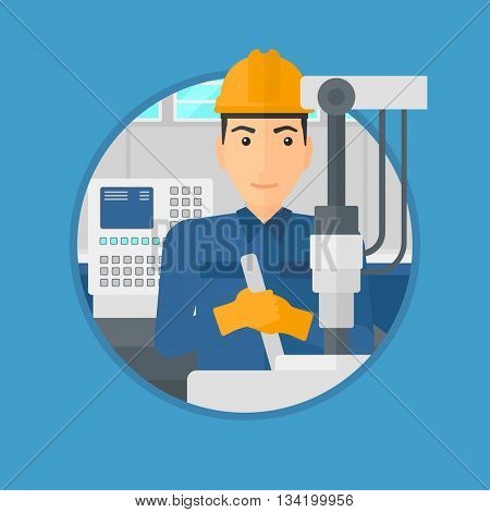 Man working on industrial drilling machine. Man using drilling machine at manufactory. Metalworker drilling at workplace. Vector flat design illustration in the circle isolated on background.