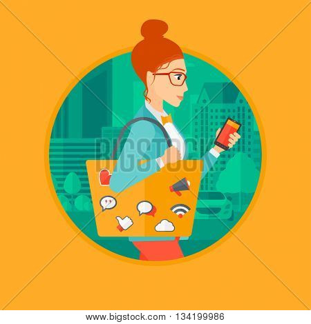 Woman walking with smartphone and bag full of social media icons. Woman using smartphone in the city street. Smartphone addiction. Vector flat design illustration in the circle isolated on background.