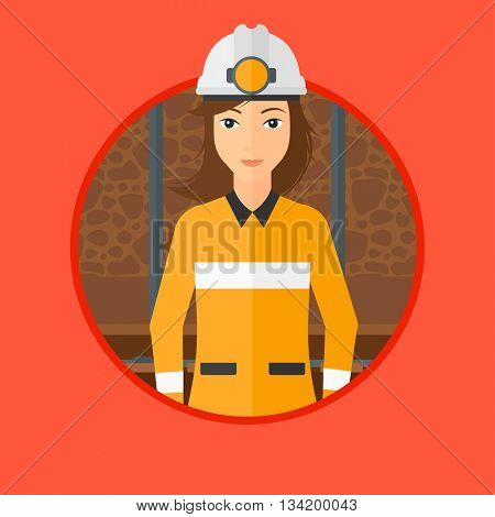 Confident coal miner. A female miner in hardhat with torch. Miner standing in the coal mine. Vector flat design illustration in the circle isolated on background.