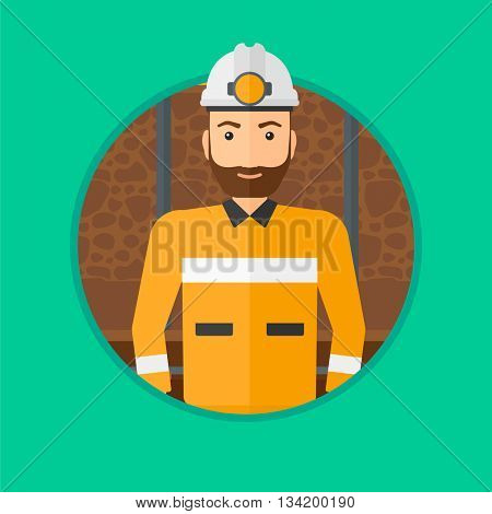 Confident coal miner. A hipster miner with the beard in hardhat with torch. Miner standing in the coal mine. Vector flat design illustration in the circle isolated on background.