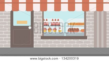 Background of bakery. Display window of bakery shop with variety of pastries. Bakery showcase full of bread and cakes vector flat design illustration. Horizontal layout.
