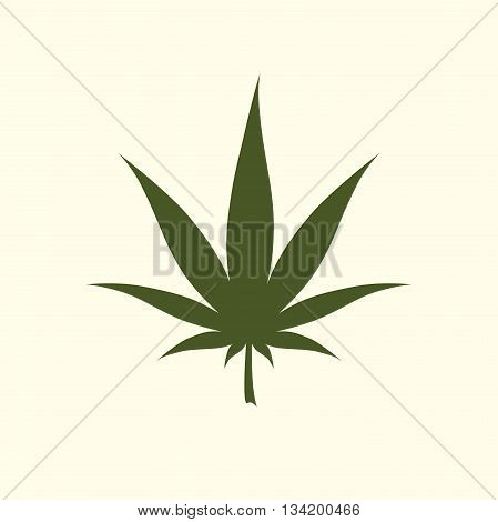 Marijuana icon. Cannabis icon vector. Marijuana leaf sign isolated on white background. Medical cannabis logo. Legalize symbol. Green leaf silhouette. Flat design vector illustration.