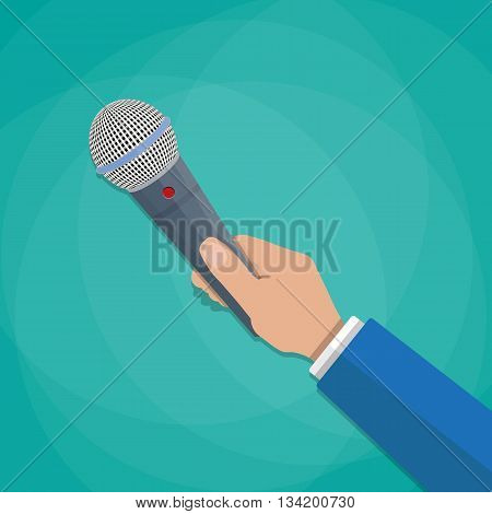 hand holding a microphone. journalims concept. vector illustration in flat design on green background