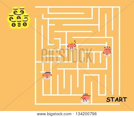 brains cartoon character vector illustration confused in maze (conceptual image about each person walking in maze to win big money but get loss with various emotions like stress and frustrated)