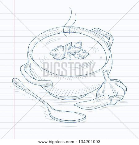 Pot of hot soup. Soup hand drawn on notebook paper in line background. Soup vector sketch illustration.