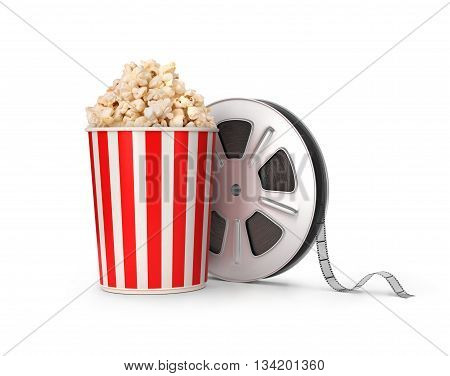 The film reel and popcorn. 3d illustration
