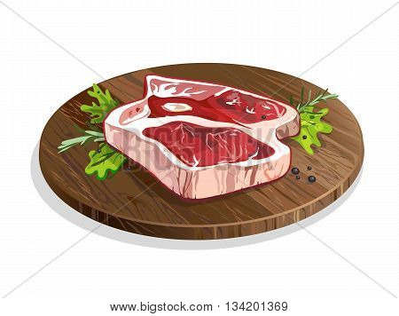 Meat on wooden plate. Isolated food on white background. Pork or beef raw meat. Restaurant meal. Menu.
