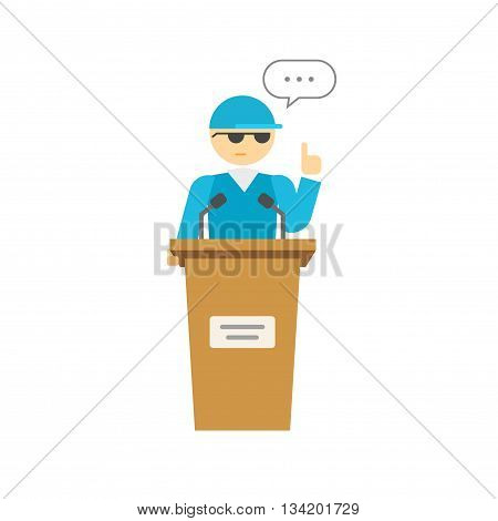 Spokesman vector illustration isolated on white, flat cartoon speaker person on podium, business orator speaking, talking