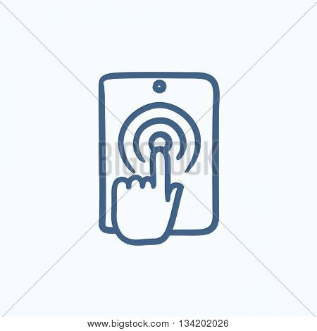 Finger touching digital tablet vector sketch icon isolated on background. Hand drawn Finger touching digital tablet icon. Finger touching digital tablet sketch icon for infographic, website or app.
