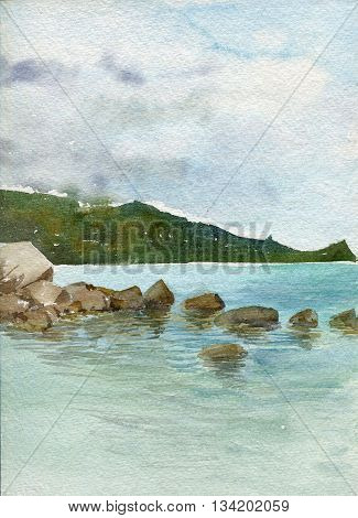 rocks at the sea shore with reflection in calm water and green forest at distance, sea landscape drawing in watercolor, hand painting illustration