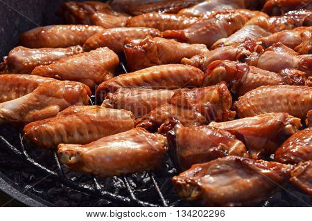 Chicken Buffalo Wings Cooked On Smoke Grill
