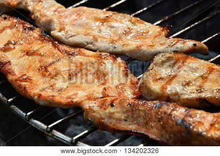 Chicken Or Turkey Steak Ready Cooked On Grill