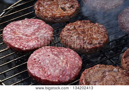 Meat Burgers For Hamburger On Smoke Grill