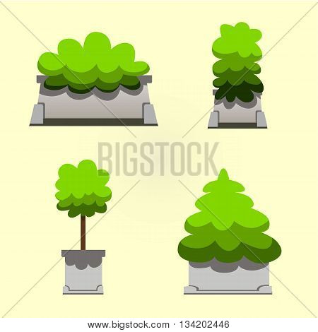 Set of bushes in hand-drawn style for decoration on your works bush cartoon vector green plants and bush in cartoon style