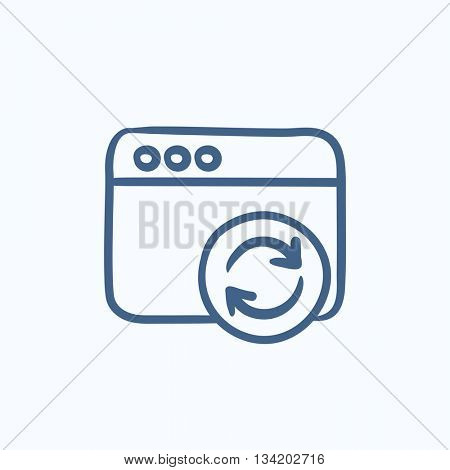 Browser window with refresh sign vector sketch icon isolated on background. Hand drawn Browser window with refresh sign icon. Browser window sketch icon for infographic, website or app.