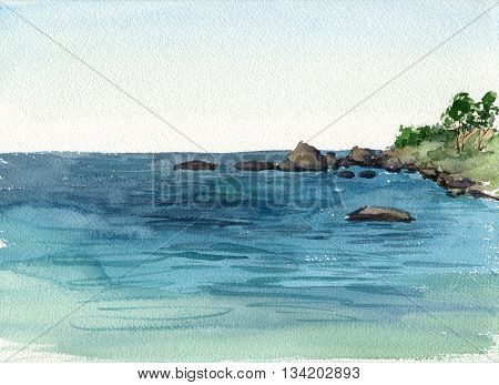 watercolor drawing coast of sea with stones, hand drawn illustration