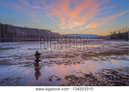 river with rock in watertrees and moss water; stone; nature; wet; red; sunset; sundown; stream; river; forest; plant; light; bright; sweden; tree; forest; rock; zen; lake; leaf; fall; autumn; moss