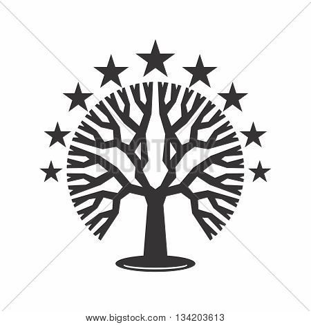 Vector Abstract Geometric Tree Silhouette with Stars, isolated on white background