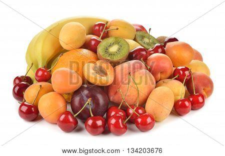 Fresh various fruits isolated on white background