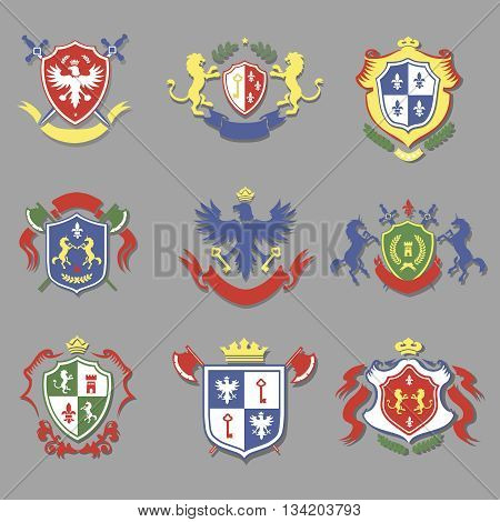 coat of arms collection, set of heraldry shields design with lion, royal crown, eagle