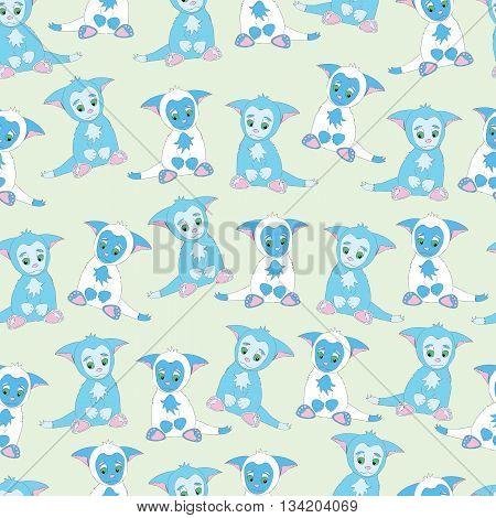 Background ittle cute animal kitten. Background cartoon animal kitty. Background kitten with big ears. Background pattern blue animal kitten.