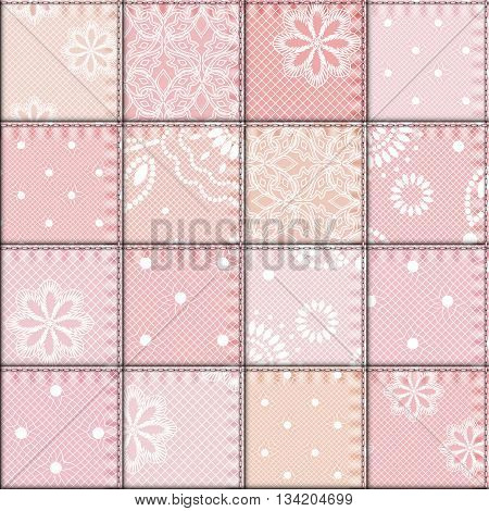 Seamless background pattern. Patchwork of lace fabric.