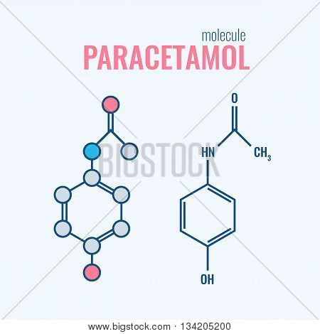 Paracetamol acetaminophen analgesic drug molecule. non-steroidal anti-inflammatory drugs, structural chemical formulas Stylized flat line and conventional skeletal formula.