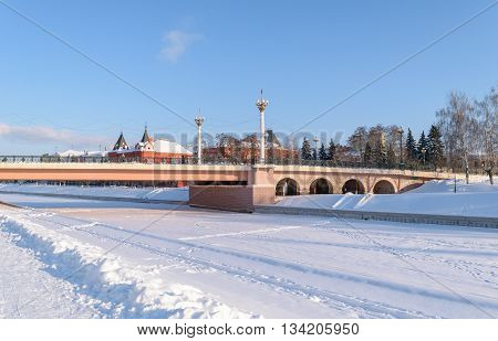 Orel, Russia - January 24, 2016: View of the Alexander's bridge over the frozen river Orlik in winter