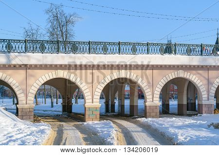 Orel, Russia - January 24, 2016: Part of the Alexander bridge across the river Orlik with arches for the passage of vehicles