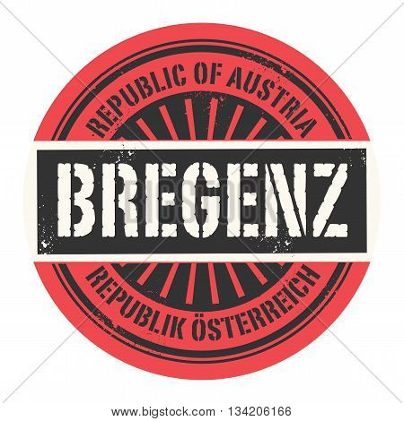 Grunge rubber stamp with the text Republic of Austria, Bregenz, vector illustration