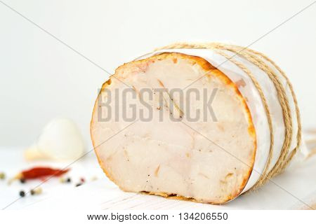 delicious food Baked Chicken Roll. selective focus