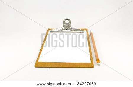 Paper notepad on wooden plate with pencil on white background