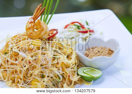 Thai food Pad thai Stir fry noodles in padthai style (selective focus)