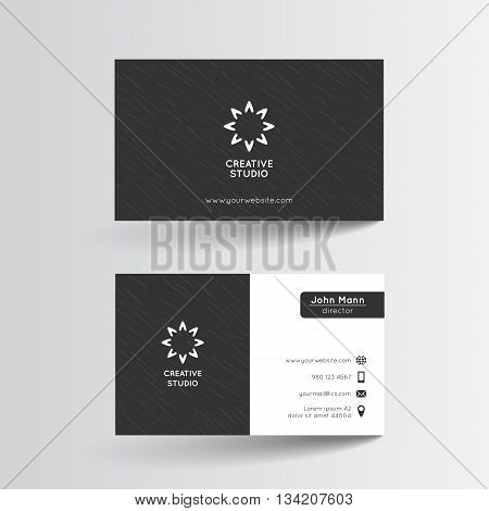Business card template. Vector illustration. Black and white layout with subtle grunge texture. Artistic modern abstract pattern