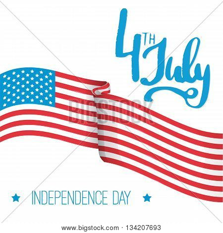 4th of july - Independence Day in United States of America greeting card. American national flag color illustration with typography.