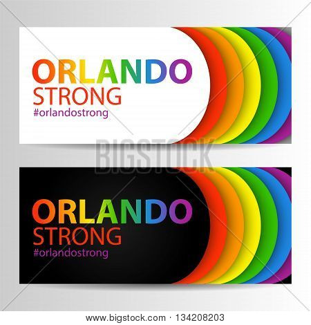 Horizontal banners in LGBT colors with Orlando Strong text. Symbol of peace gay culture. Rainbow template paper layers. Pride Month. Gay culture symbol against violence. Can be used in a web design.