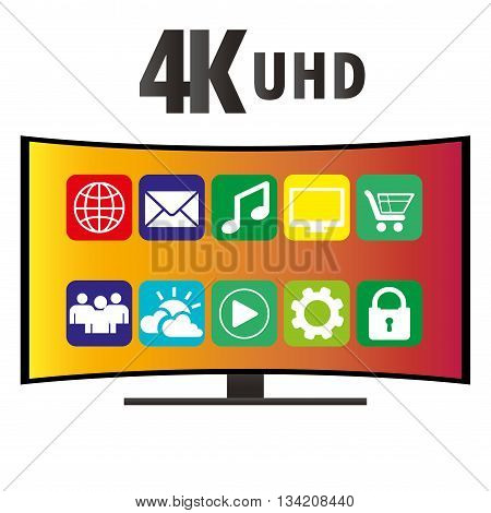 4K Ultra HD Modern Curved Screen Smart TV with icons of various applications flat vector illustration