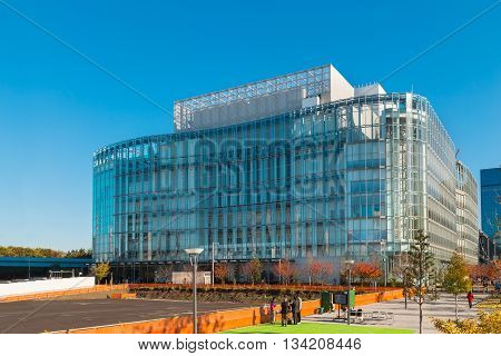 TOKYO JAPAN - NOVEMBER 27 2015: A modern office building architechture in Odaiba area