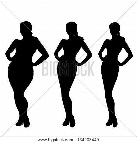 Female weight silhouetteThree different girls vector illustration.