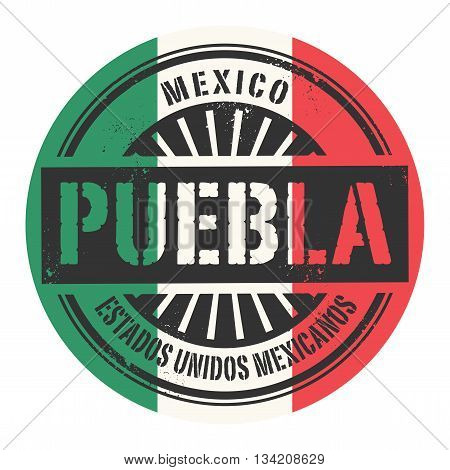 Grunge rubber stamp with the text Mexico, Puebla, vector illustration
