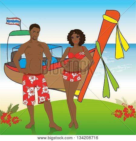 Man and woman in beach shorts on the beachlongtail boat on background vector